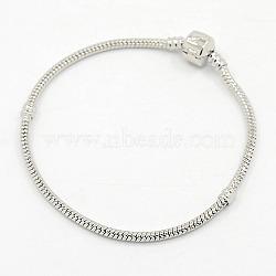 Laiton bracelets de style européen avec fermoir en laiton, sans signe, couleur platine, environ 15 cm de long (à l'exception de la longueur de boucle), épaisseur de 3mm, 2 trou mm(X-PPJ003Y)