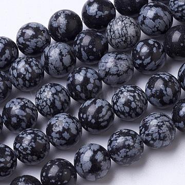 12mm Black Round Snowflake Obsidian Beads