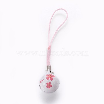 Mobile Decoration, Brass Bell, with Nylon, Sakura Pattern, White, 100mm(KKB-P001-02B)