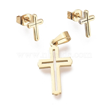 Cross 304 Stainless Steel Jewelry Sets, Pendants and Stud Earrings, with Ear Nuts, Golden, 22.5x12.5x1mm, Hole: 5x3mm; 11x7mm, Pin: 0.7mm(SJEW-K154-22G)