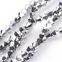 Electroplate Glass Beads Strands, Faceted, Bicone, Silver, 4x4mm, Hole: 1mm, about 92~96pcs/strand, 13.78~14.37 inches.(X-EGLA-S057-4)