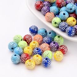 Perles acryliques plaquées, métal enlacée, rond, couleur mixte, 8x8mm, Trou: 2mm(X-PACR-S189-8mm-M)