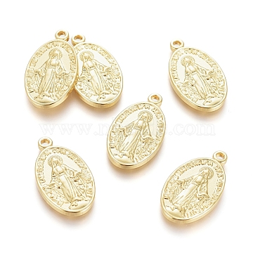 Brass Pendants, Long-Lasting Plated, Miraculous Medal, Oval with Virgin Mary, Real 18K Gold Plated, 20.5x11.5x2mm, Hole: 1.4mm(KK-G389-02G)