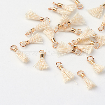 Polycotton(Polyester Cotton) Tassel Pendant Decorations, with Unwelded Iron Jump Rings, Golden, PapayaWhip, 10~16x2mm, Hole: 1.5mm(X-OCOR-S102-19)
