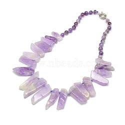 """Colliers de perles avec pierres précieuses naturelles, à ressort fermoirs à anneaux, améthyste, 22.8""""(NJEW-P083-08)"""