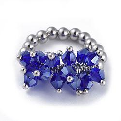 304 bagues élastiques en acier inoxydable, avec perle de verre galvanisée et goupilles en laiton, bleu, taille 8, 18mm(RJEW-JR00261-03)