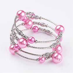 """Bracelets à perles en perles en verre, quatre boucles, Avec perles en laiton et entretoises en perles de fer, argent antique et le platine, pearlpink, 2-1/8"""" (53 mm)(BJEW-JB02860-07)"""