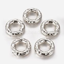 cadre de perle en plastique ccb, donut, platine, 29x6 mm, trou: 2 mm; diamètre intérieur: 15 mm(CCB-F012-03P)