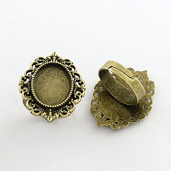 Vintage Adjustable Iron Finger Ring Components, with Alloy Cabochon Bezel Settings, Lead Free & Cadmium Free & Nickel Free, Antique Bronze, 17x5mm; Oval Tray: 18x13mm(X-PALLOY-Q300-09AB-NR)
