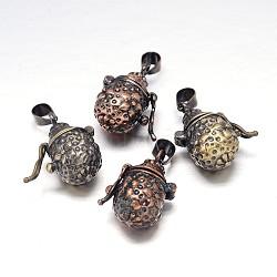 Pot sculpté boîte crémaillère placage de laiton de prière pendentifs, boîte souhaiter, sans nickel  , couleur mixte, 22x12x16mm, Trou: 5x3mm(KK-L101-18-NF)