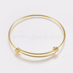 fabrication de bracelet extensible en laiton, bracelets de couple, or, 2-1 / 2 (63 mm); 1.5 mm(MAK-P008-02G)