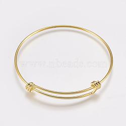 изготовление латунных расширяемых браслетов, браслеты крутящий момент, золотой, 2-1 / 2 (63 мм); 1.5 мм(MAK-P008-02G)