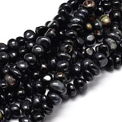 "Teints tigre naturel pépites oculaires brins de perles, noir, 6~10x9~12x8~10mm, trou: 1 mm; environ 15.3""~15.7""(G-J337-49C)"