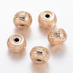 Plat rond lumière or placage perles en laiton, 9x6mm, Trou: 2mm(KK-M189-04)