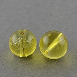 """Chapelets de perles en verre transparent drawbench, peint à la bombe, rond, verge d'or, 10 mm; trou: 1.3~1.6 mm, Environ 80 pcs/chapelet, 31.4""""(X-GLAD-Q012-10mm-06)"""