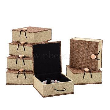 Rectangle Wooden Bracelet Boxes, with Burlap and Velvet, Camel, 10.4x10x5.2cm(OBOX-N013-01)
