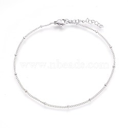 304 Stainless Steel Curb Chain Anklets, Stainless Steel Color, 9inches(22.8cm), 1.4mm(AJEW-P069-05P)