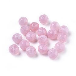 perles acryliques, style de pierres précieuses imitation, facettes, arrondir, pearlpink, 11 mm, trou: 2 mm; environ 540 pcs / 500 g(SACR-S001-11mm-23)