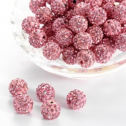 Pave Disco Ball Beads, Polymer Clay Rhinestone Beads, Round, Light Rose, PP13(1.9~2mm), 6 Rows Rhinestone; 10mm, Hole: 1.5mm(RB-A130-10mm-23)