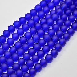 "Chapelets de perles en verre transparent, mat, rond, bleu, 14mm, trou: 1.3~1.6mm; environ 58 pcs/chapelet, 31.4""(GLAA-S031-14mm-09)"