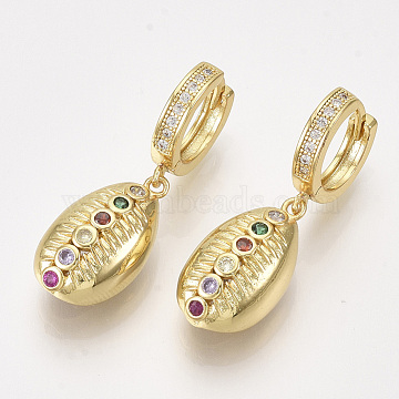 Brass Micro Pave Cubic Zirconia Leverback Earrings, Cowrie, Colorful, Golden, 34mm; Pin: 1mm(ZIRC-T006-79G)