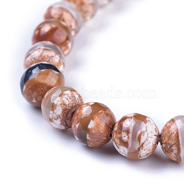 Tibetan Style Striped Pattern dZi Beads, Natural Agate, Dyed, Faceted, Round, 8mm, Hole: 1mm, about 47pcs/strand, 14.96inches(X-TDZI-G002-8mm-10)