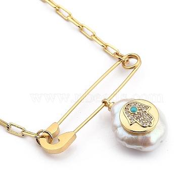 Natural Pearl Pendant Necklaces(NJEW-JN03018-01)-1