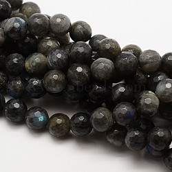Natural Labradorite Round Bead Strands, Faceted, Grade AA, 8mm, Hole: 1mm; about 48pcs/strand, 15.5inches