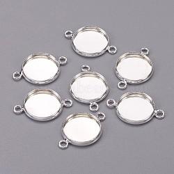 латуни кабошон параметры соединителя, чашки безель с краем, плоские круглые, никель свободный, серебристый цвет, лоток: 12 мм; 19.5x14x2.5 мм, отверстия: 1.5 mm(X-KK-D417-S-NF)