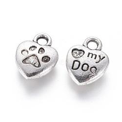 Breloque d'alliage d'émail de style tibétain, coeur mot sculpté mon chien, sans plomb et sans nickel, argent antique, 13x10x3mm, Trou: 2mm(X-TIBEP-23882-AS-FF)