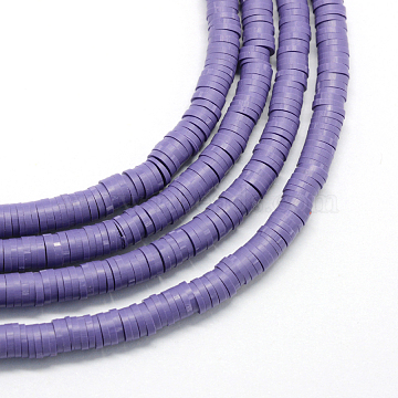 Eco-Friendly Handmade Polymer Clay Beads, Disc/Flat Round, Heishi Beads, Slate Blue, 4x1mm, Hole: 1mm, about 380~400pcs/strand, 17.7 inches(X-CLAY-R067-4.0mm-03)