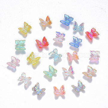 Resin Cabochons, Nail Art Decoration Accessories, AB Color Plated, 3D Butterfly, Mixed Color, 6.5x6.5x3.5mm(X-MRMJ-R063-02)