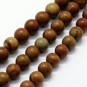 Natural Wood Lace Stone Beads Strands, Round, 6~6.5mm, Hole: 0.5mm; about 63pcs/strand,  14.96inches(38cm)(G-I199-17-6mm)