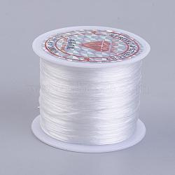 Chaîne de cristal élastique plat, fil de perles élastique, pour la fabrication de bracelets élastiques, blanc, 0.5 mm; environ 45 m/rouleau(EW-P002-0.5mm-A34)