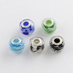 rondelle chalumeau grand trou perles européennes, avec des noyaux de laiton de ton argent, couleur mélangée, 14~15x11~12 mm, trou: 5 mm(X-LPDL-R003-06)