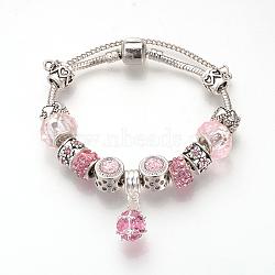 bracelets européens, avec perles en alliage tibétain, perles de rresin, chaînes en laiton et chaînes de sécurité, argent antique, arrondir, rose, 7-1 / 2 (190 mm)(BJEW-S124-10A)