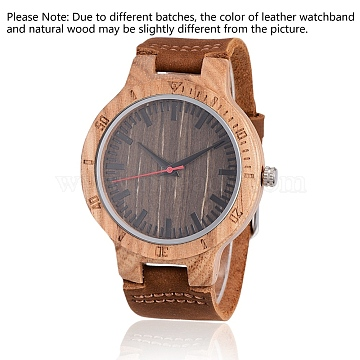 Zebrano Wood Wristwatches, Men Electronic Watch, with Leather Watchbands and Alloy Findings, SaddleBrown, 260x23x2mm; Watch Head: 56x48x12mm; Watch Face: 37mm(WACH-H036-17)