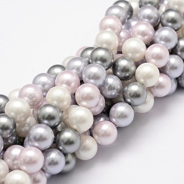 Shell Pearl Bead Strands, Grade A, Round, Mixed Color, 8mm, Hole: 1mm, about 54pcs/strand, 16 inches(X-BSHE-L017-09)