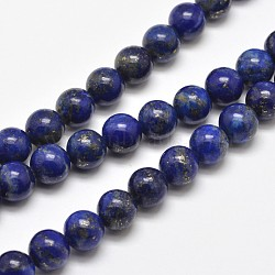 Natural Lapis Lazuli Round Bead Strands, 8mm, Hole: 1mm; about 48pcs/strand, 15.5inches