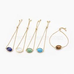 """Bracelets bolo réglables en laiton, Bracelets coulissants, avec maillons en pierre synthétique / naturelle et zircone, ovale, or, 9-3/8"""" (23.9 cm), 1mm(BJEW-JB03898)"""
