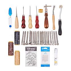 Costume en cuir, Avec des outils de travail en cuir, Aiguilles auto-affilées en fer et outils d'impression en cuir, couleur mixte, 190x110x50mm(TOOL-PH0009-01)