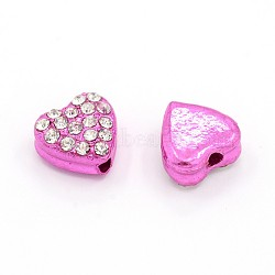 Cristal coeur en alliage de perles de strass, orchidée, 10x10x6mm, Trou: 2mm(RB-J519-04)