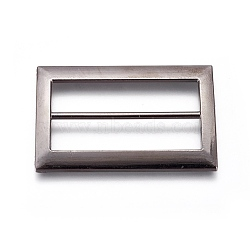 Boucles en alliage, rectangle, gunmetal, 61x40x3mm, Trou: 11.5x50mm(PALLOY-WH0059-01F-B)