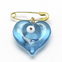 Handmade Lampwork Brooches, Heart with Evil Eye, Golden, Light Sky Blue, 19x18mm(X-LAMP-R139-09)