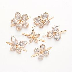 Mixed Shape Rack Plating Iron Shoes Buckle Clips, with Rhinestone, Light Gold, 35~38mm(IFIN-F132-M)