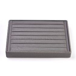 PU Leather Ring Displays, with Wood, Jewelry Display, Gray, 25.1x18x3.4cm(RDIS-L003-05)