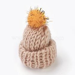 Décoration de chapeau en laine tressé manuel, diy artisanat décoration, avec paillette en plastique, peachpuff, 33~38x43~48mm(AJEW-L066-A07)
