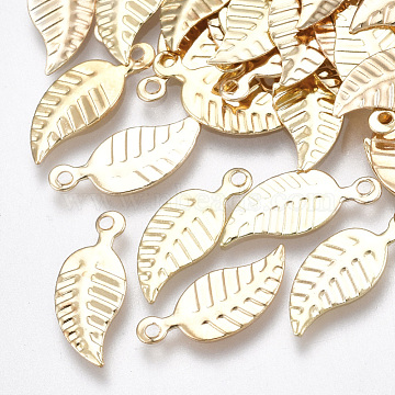 Iron Charms, Nickel Free, Leaf, Light Gold, 14x6x0.5mm, Hole: 1mm(X-IFIN-T007-19KC-NF)