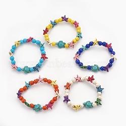 """Bracelets stretch enfants perles de turquoise synthétiques, tortue de mer et étoile de mer et rond, couleur mixte, 2-1/8"""" (5.5 cm)(BJEW-JB03889)"""