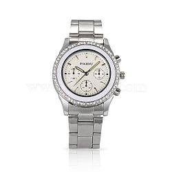 Мужчин случайные часы нержавеющей стали высокого качества горный хрусталь бриллиантами кварцевые часы, 63 мм; голова часы: 39x47x11.5 мм; лицо часов: 27x27 мм(WACH-N004-16)